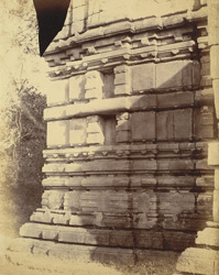 Close view of moulding at base of tower of large temple at Khalari, Raipur District